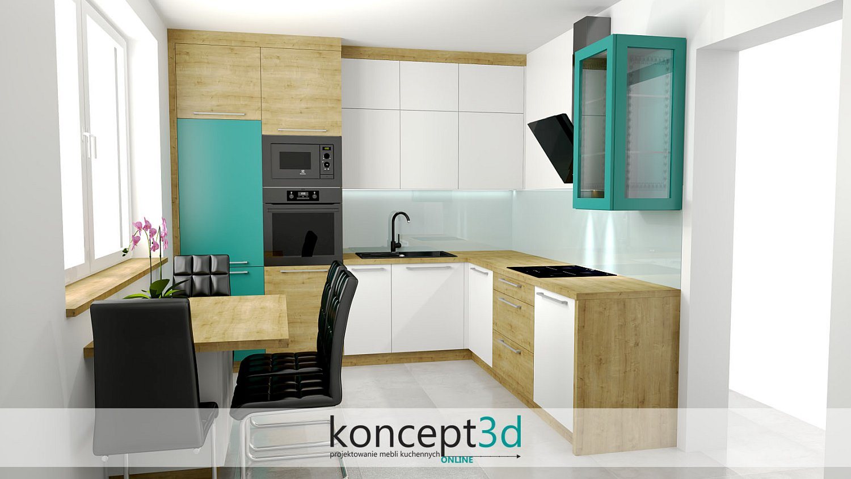 Nowoczesne spojrzenie na projektowanie mebli kuchennych, czyli biała kuchnia z drewnianym blatem i dodatkami przenikającego turkusu | koncept3d projekty kuchni
