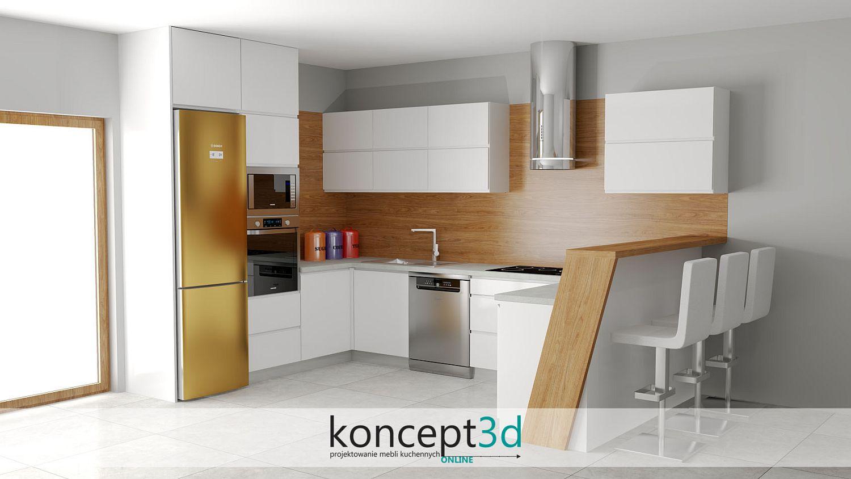 Nowoczesna kuchnia biała z półwyspem i drewnianą ladą | koncept3d projekty kuchni