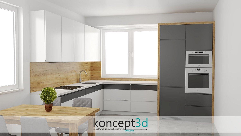 Drewniany laminat na ścianę z białym blatem | koncept3d projekty kuchni