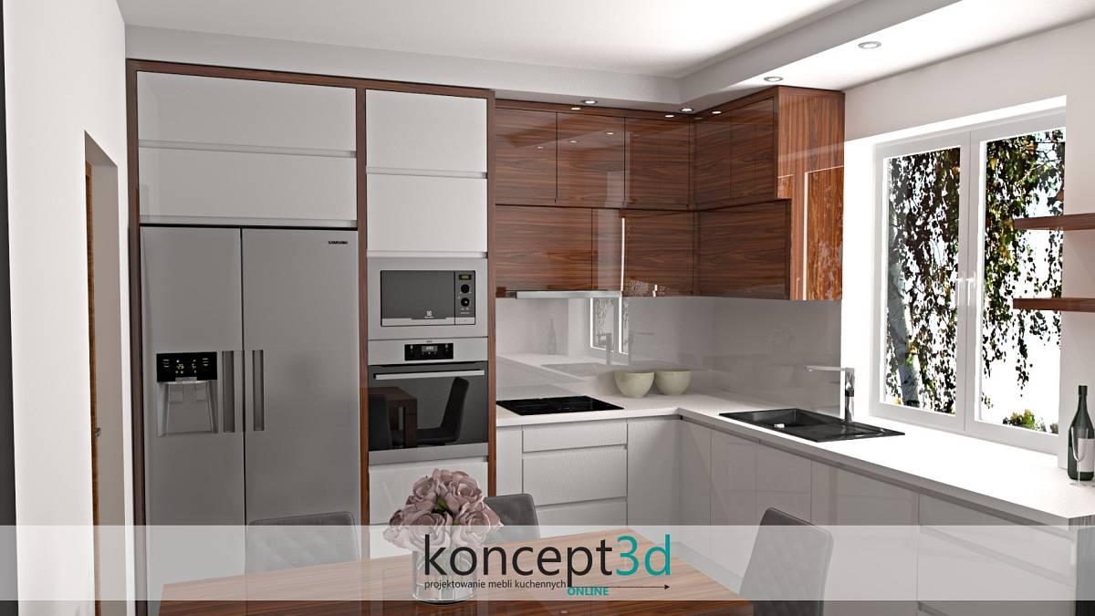 Projektowanie mebli kuchennych - białe szkło nad kuchennym blatem