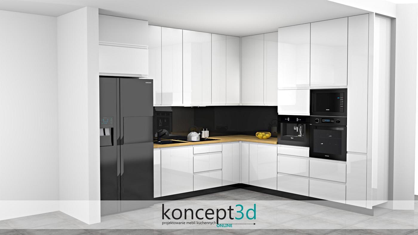 Meble kuchenne na planie litery L z czarną lodówką, piekarnikiem i mikrofalą   koncept3d projekty kuchni