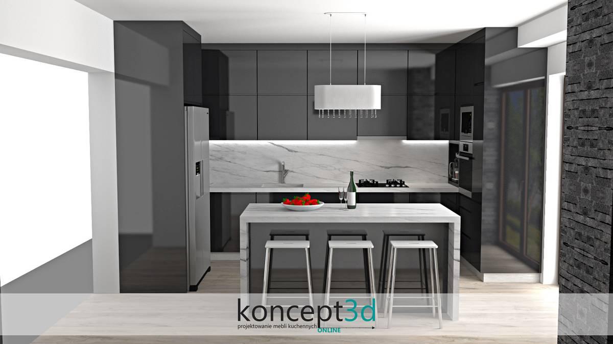 Aranżacja ściany nad blatem w kuchni - biały marmur z ciemnymi smugami | koncept3d