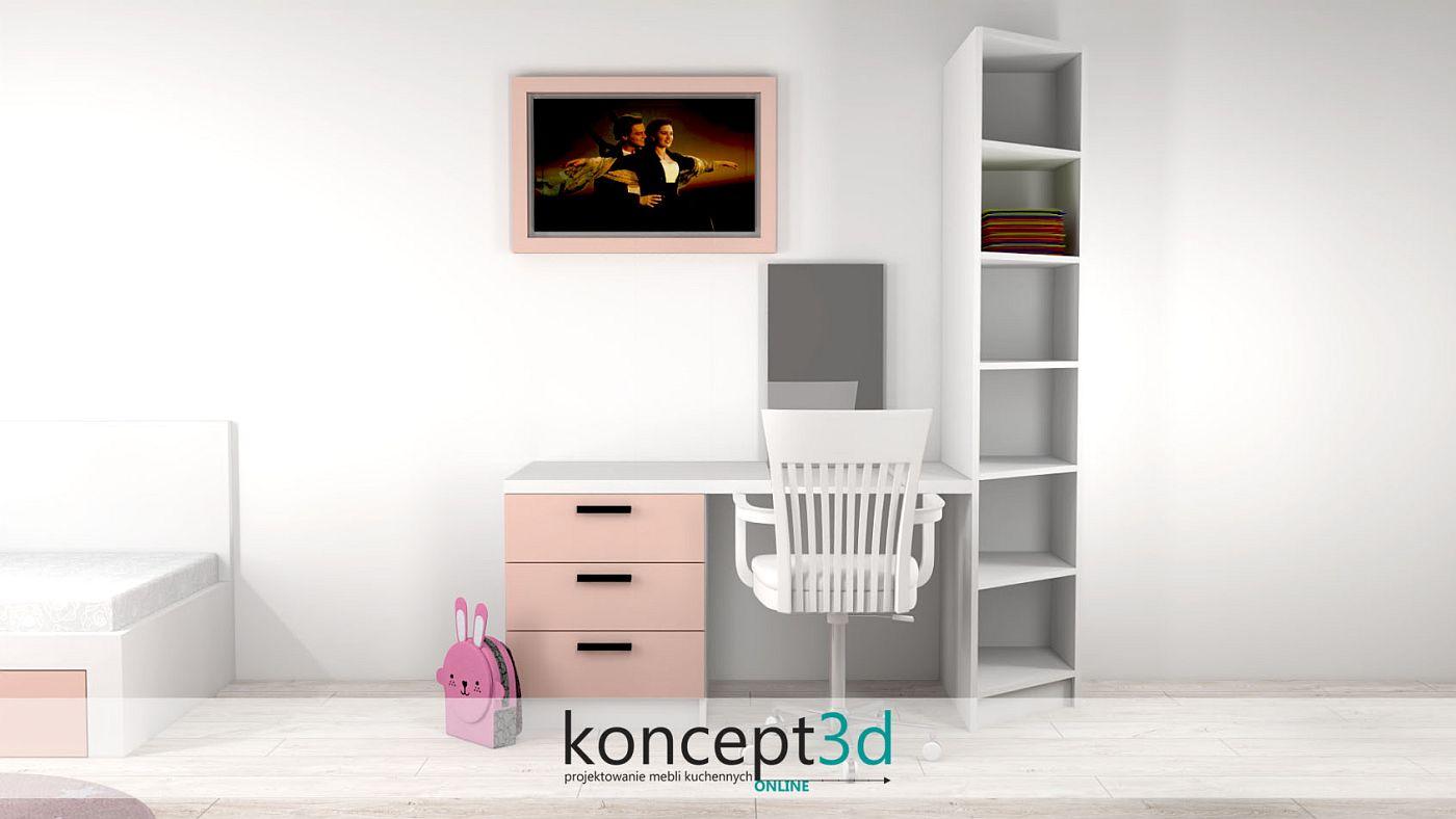 Biurko z różowymi szufladkami i białym krzesłem