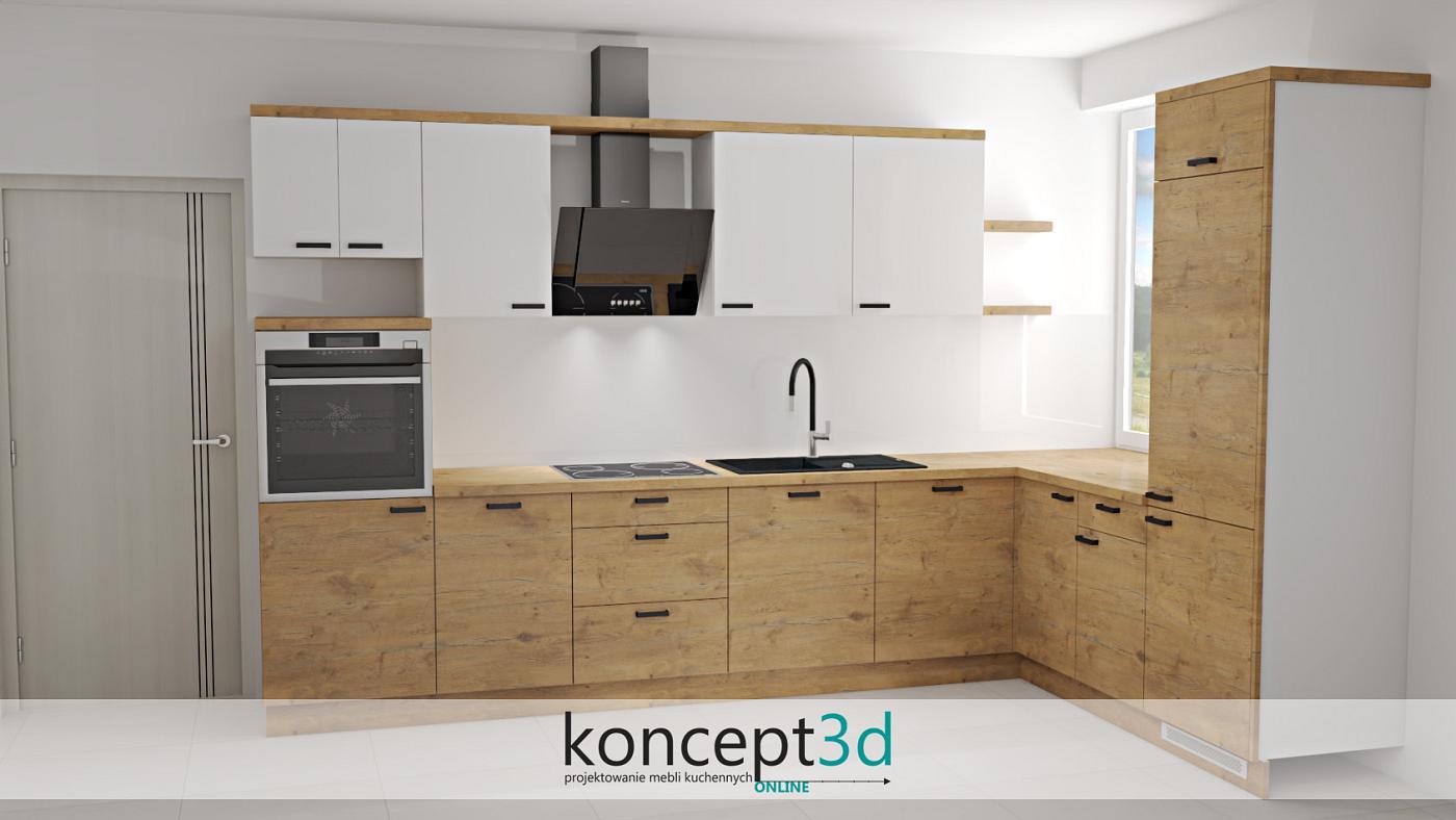 Drewniane dolne fronty połączone z białym kolorem to bezpieczne rozwiązanie