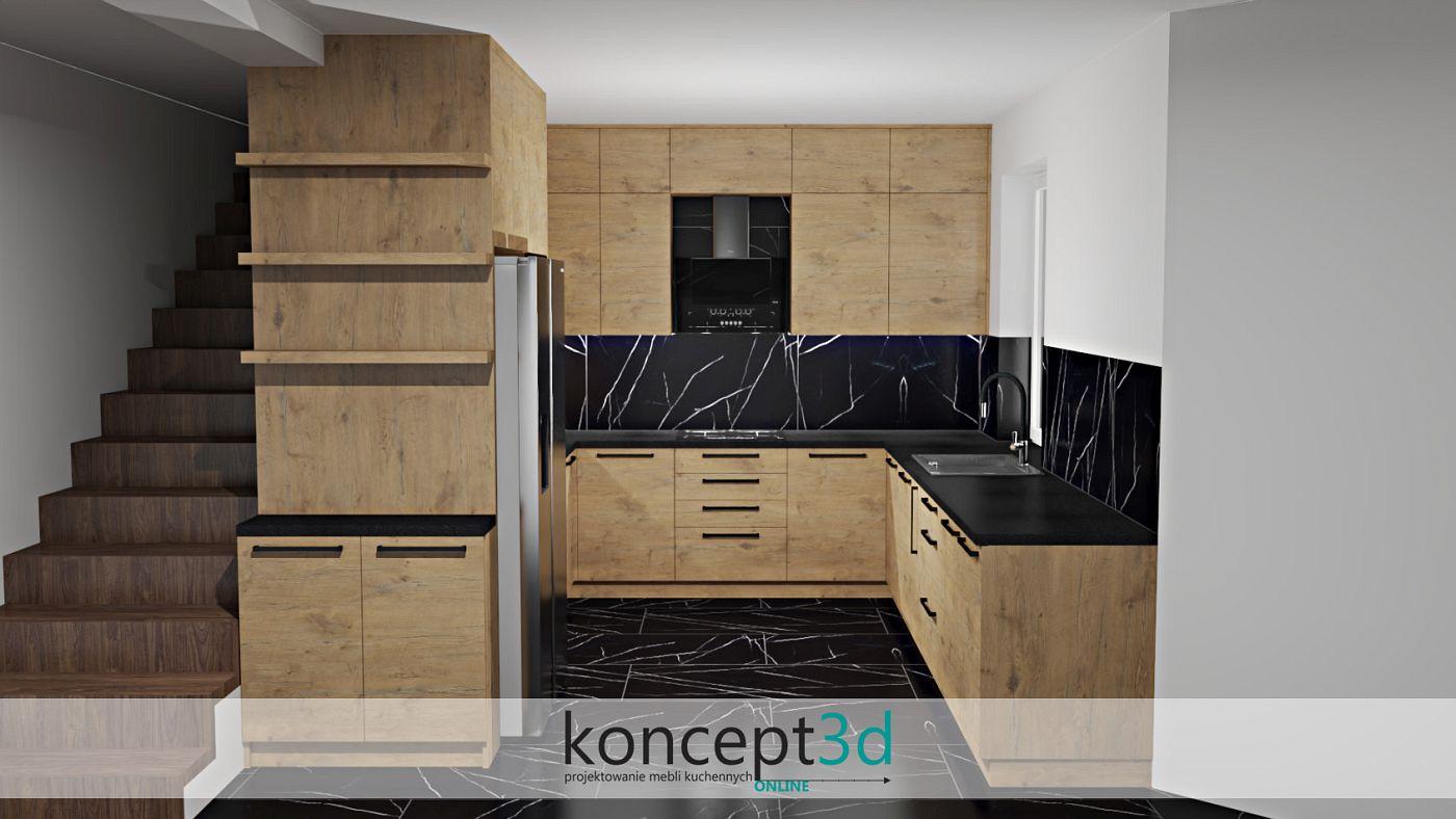 Zdjęcie przedstawia aranżację mebli kuchennych w całości wykonaną w odcieniach drewna Lancelot połączonego z czrnym blatem