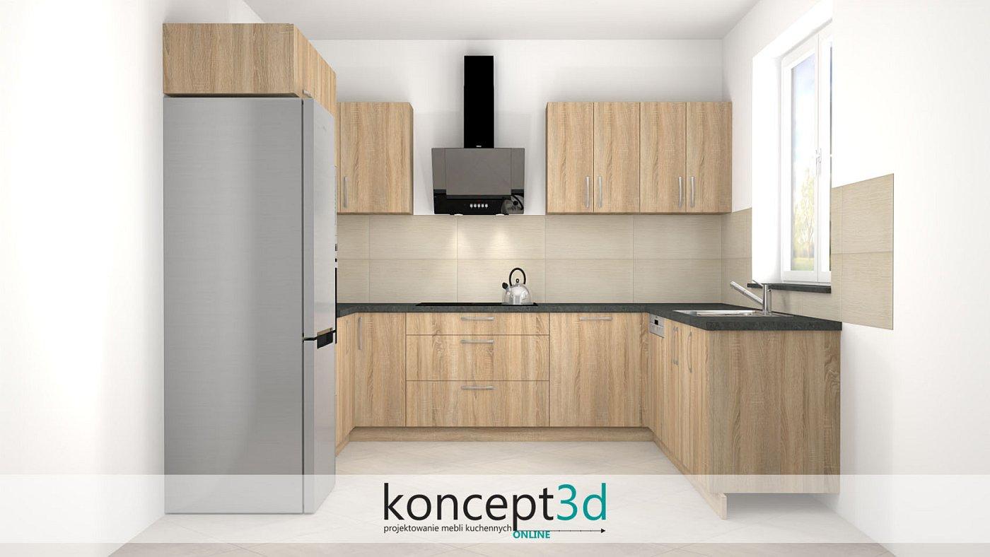 Aranżacja mebli kuchennych w kolorze dęba Sonomy z ciemnym blatem   koncept3d projekty kuchni