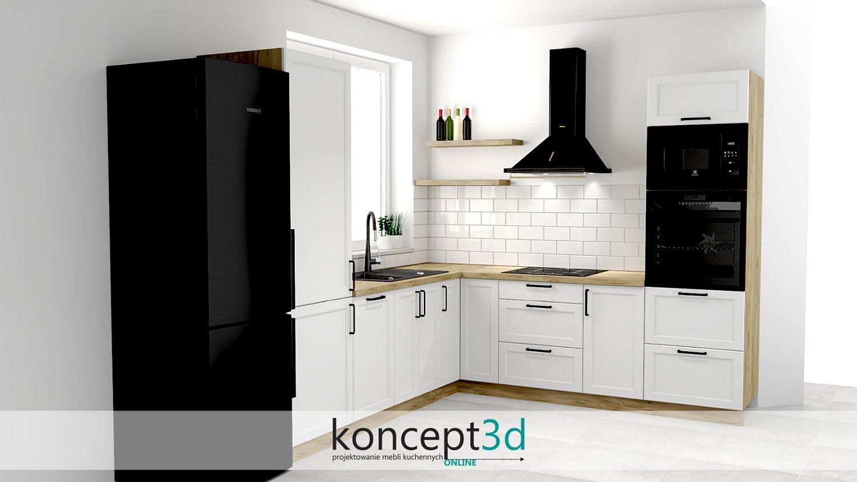 Projekty białych kuchni klasycznych z cegłą na ścianie to eleganckie rozwiązanie   inspiracje koncept3d