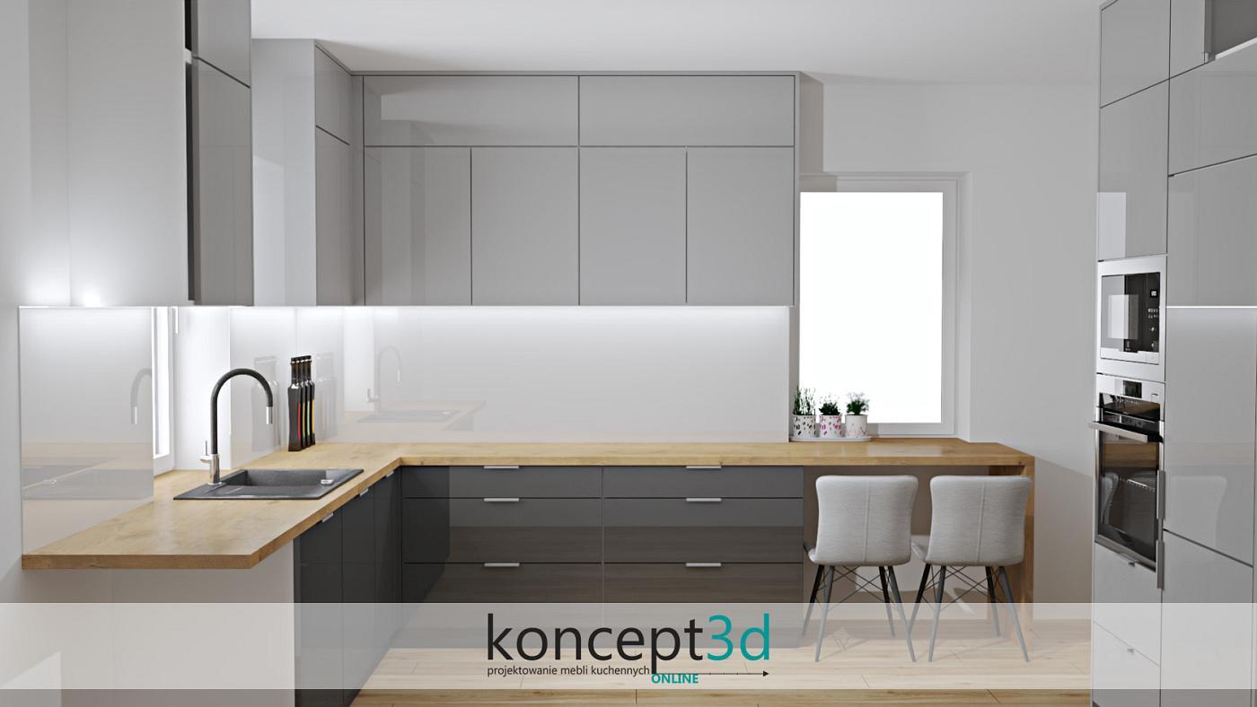 Dolne szafki ciemny grafit, górne jasny szafy, a blat dąb Lancelot   koncept3d kuchnie na wymiar kraków