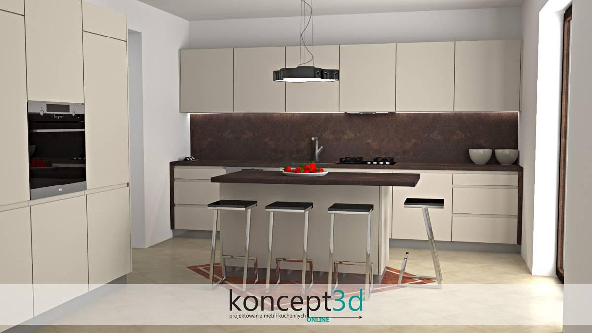 Piękna wizualizacja mebli kuchennych z ciemnym, intrygującym kamieniem nad blatem | koncept3d