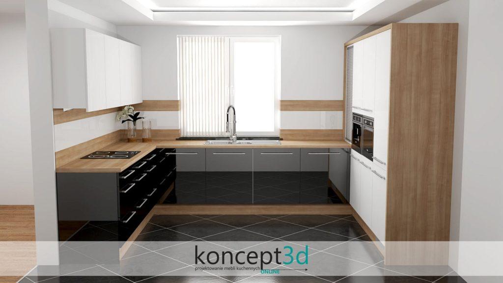 Czarna kuchnia z białym słupkiem i drewnianym blatem | projekty kuchni koncept3d