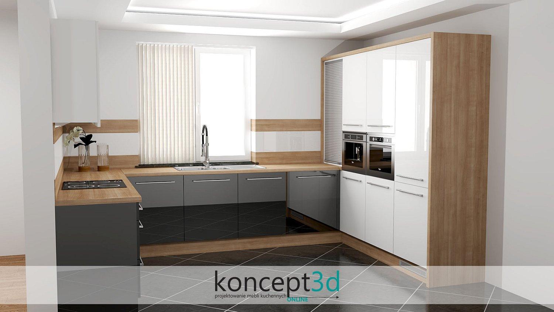Kuchnia czarno drewniana z białym | koncept3d meble na wymiar