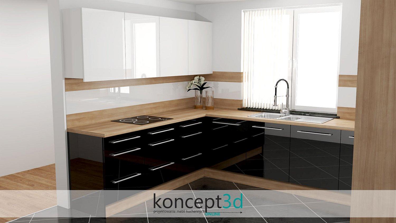 Białe szafki wiszące w czarnej kuchni z drewnianym blatem i szkłem na ścianie | meble na zamówienie Kalwaria