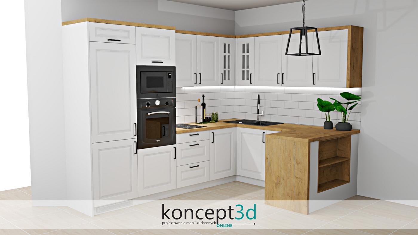Klasyczny projekt kuchni z półwyspem i zkończonym bokiem z płyty dąb Lancelot   koncept3d projekty kuchni online