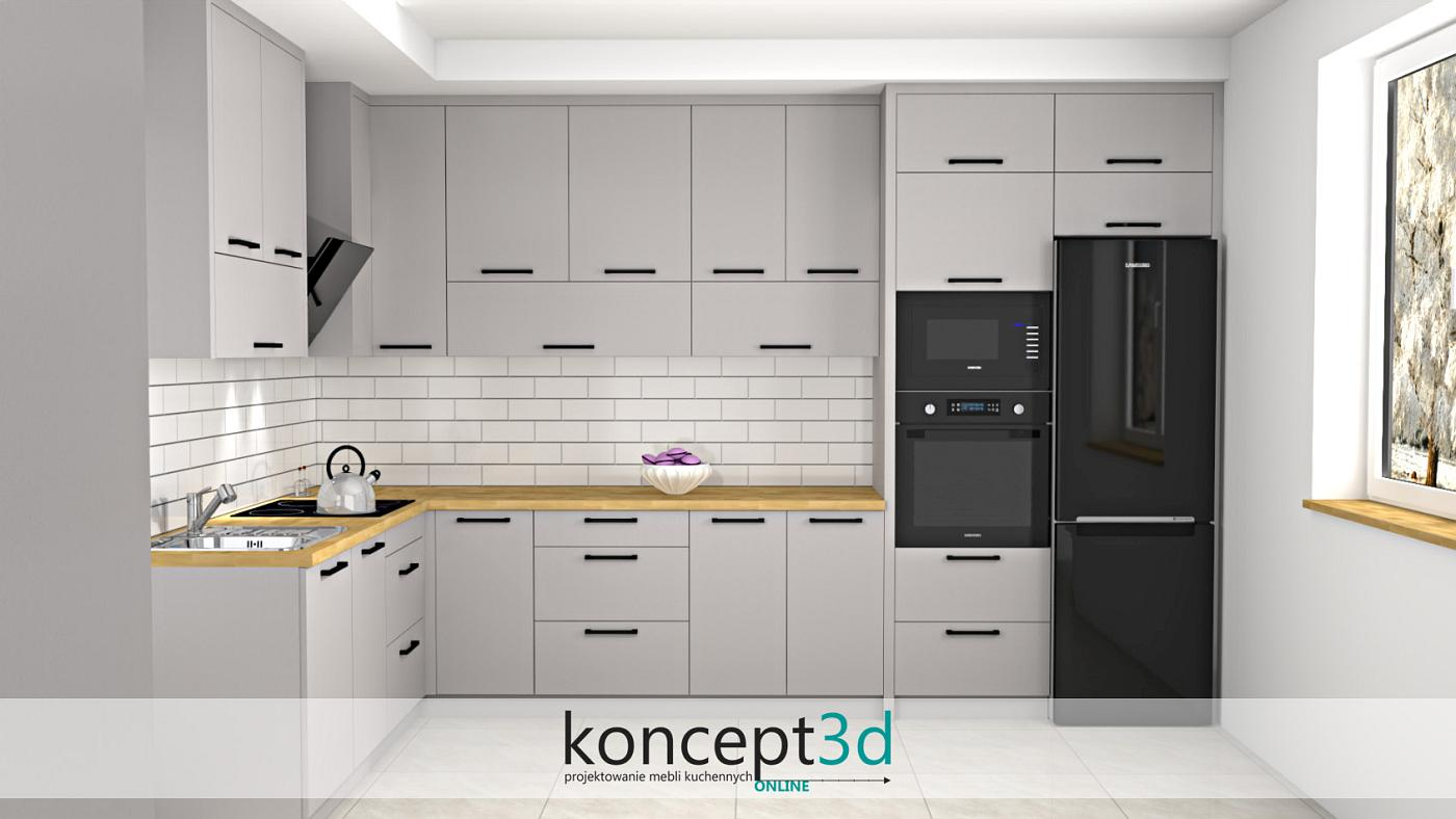 Klasyczna cegiełka w meblach kuchennych w L | koncept3d projekty kuchni
