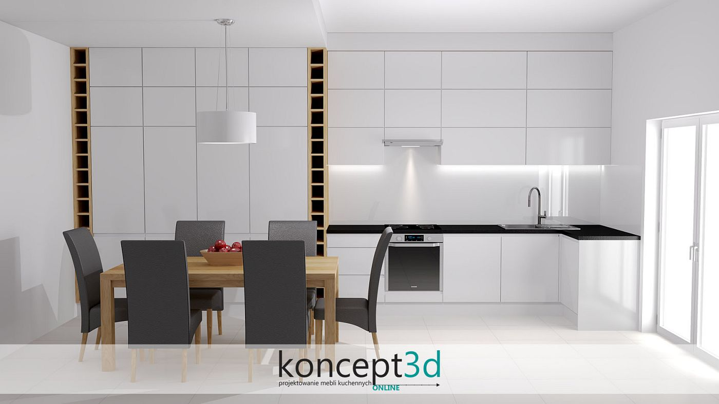 Czarny blat w białych meblach kuchennych to elegancki kontrast pomiędzy klasyką, a nowoczesnością   koncept3d projekty kuchni