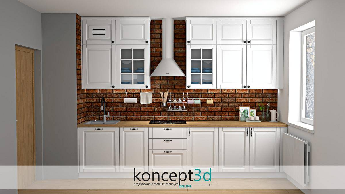 Aranżacja ściany nad blatem w kuchni w postaci czerwonej palonej cegły | projekty kuchni