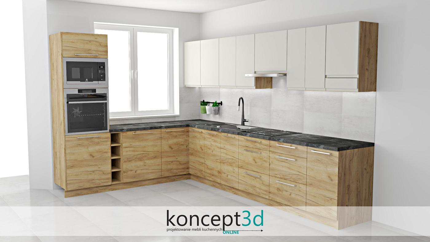 Dąb K003 doskonale komponuje się z ciemnymi blatami i kremowymi elementami | koncept3d projekty kuchni