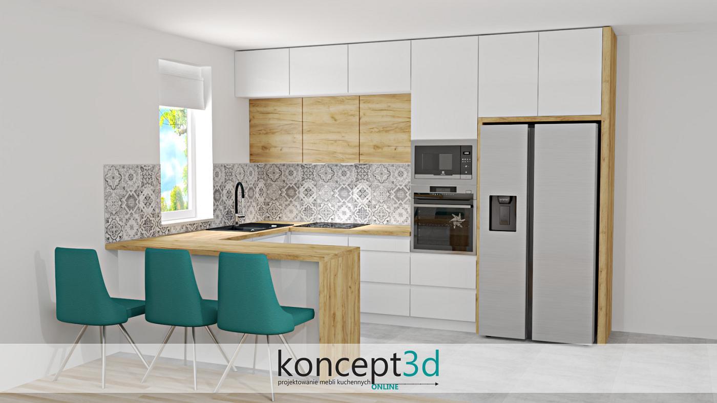 Turkusowe krzesła świetnie kontrastują z blatem K003 | koncept3d projekty kuchni