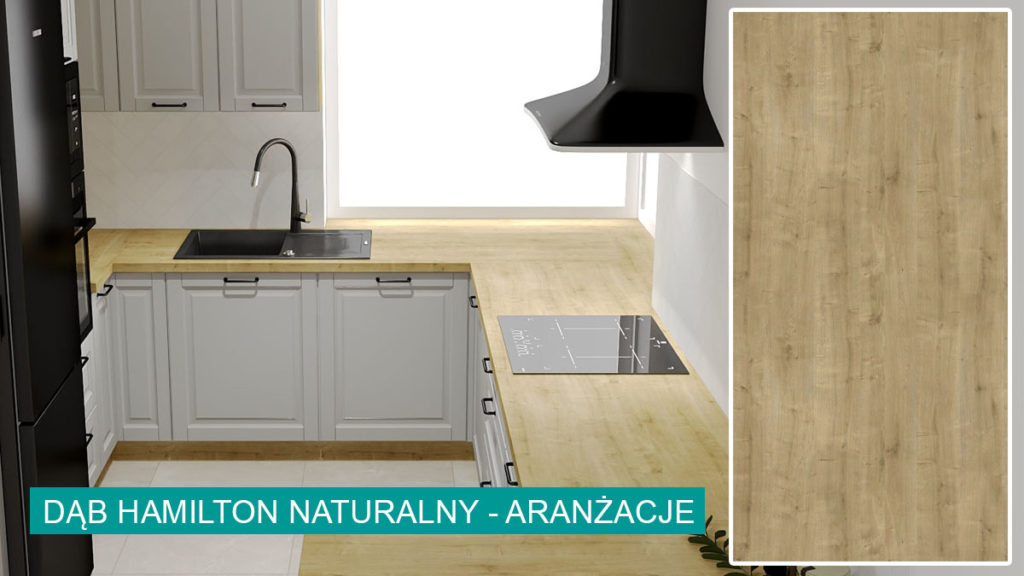 Dąb Hamilton Naturalny aranżacje   koncept3d projekty kuchni