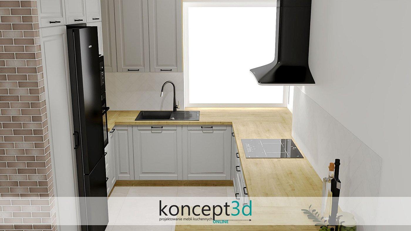 Klasyczne kuchnie chętnie przyjmują wszelkie dodatki drewniane - tutaj klasyczna kuchnia złączona z drewnianym blatem   projekty mebli kuchennych koncept3d Płock