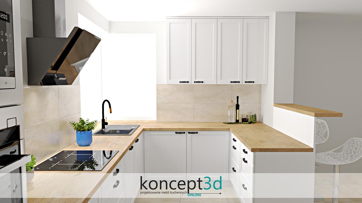 Nowoczesne kremowe płytki do kuchni nad blat kuchenny | koncept3d