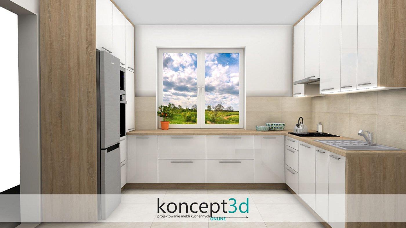 Projekt kuchni z drewnianymi bokami i drewnianym blatem   koncept3d projekty kuchni