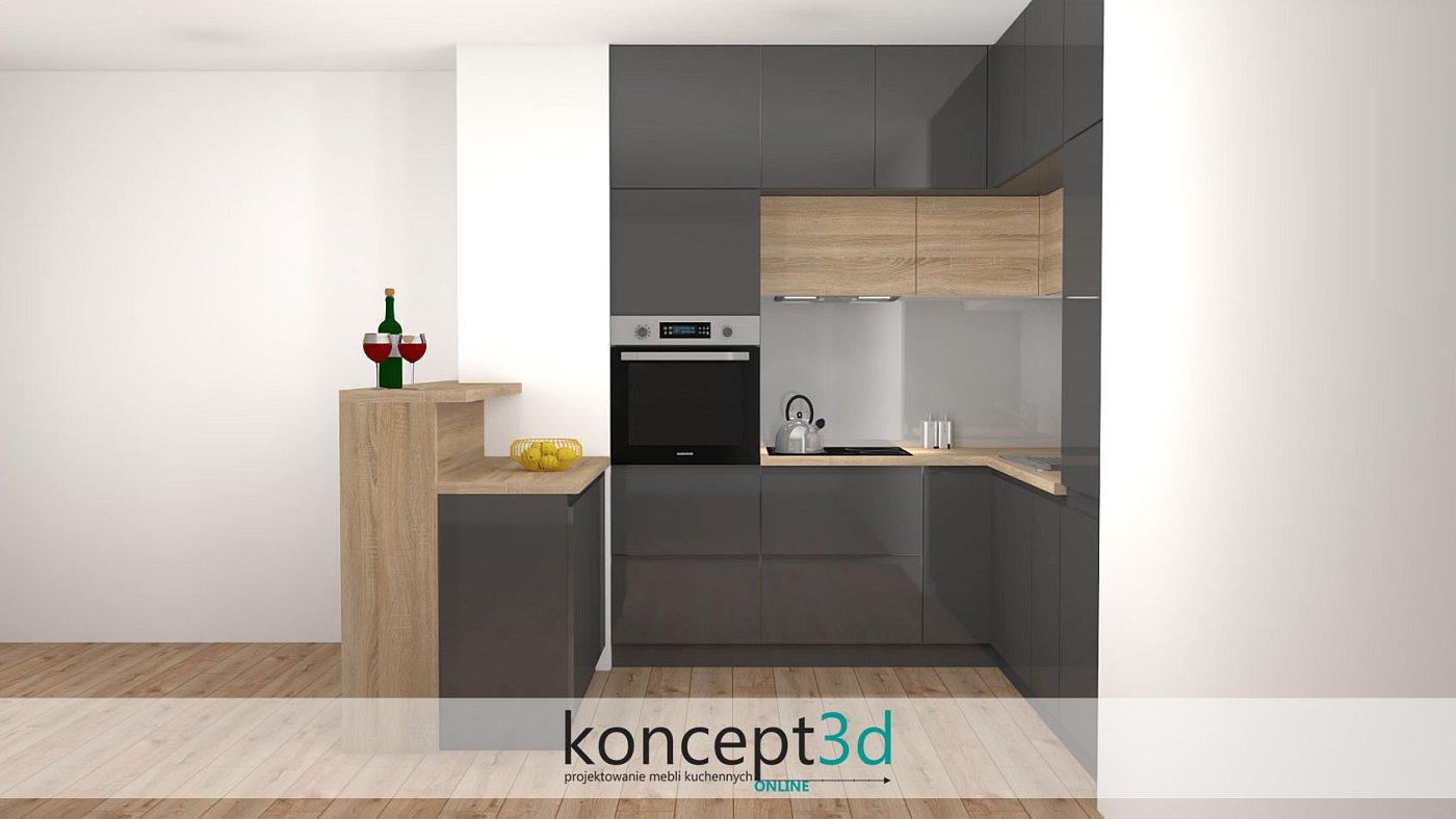 Ciemnoszare meble kuchenne elegancko skomponowane z dekorem dąb Sonoma   koncept3d projekty kuchni