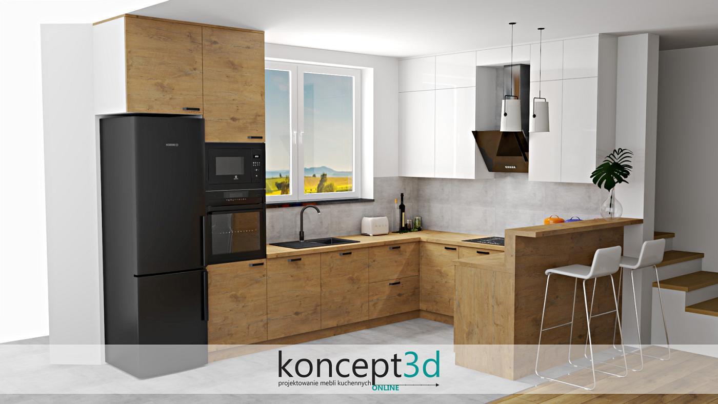 Czarna lodówka, mikrofala, piekarnik i skośny pochłaniacz   koncept3d projekty kuchni online