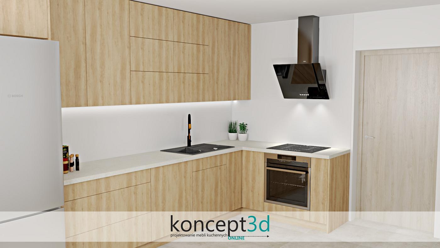 Drewniane meble kuchenne w L z czarnym pochłaniaczem i zlewem