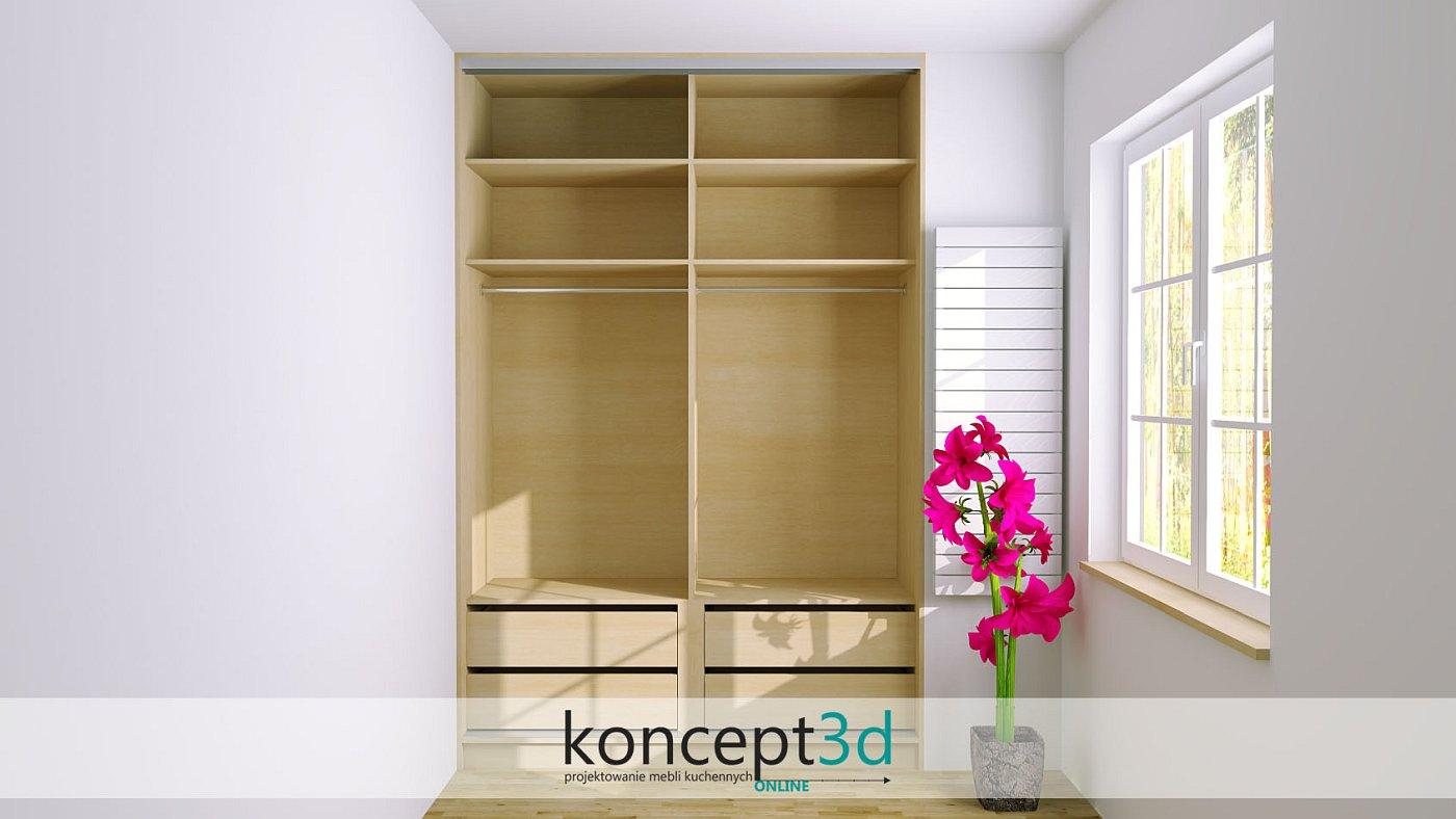 Projekt niewielkiej szafy z wałkami i szufladkami   koncept3d projekty mebli