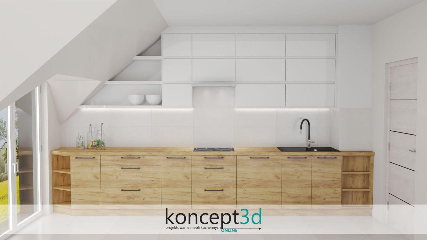 Projekt kuchni w I z drewnianymi dolnymi szafkami i białymi górnymi