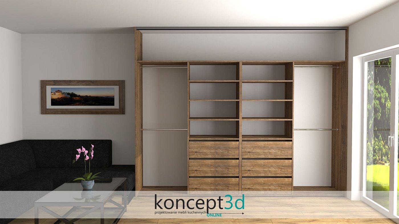 Szafy przesuwne w salonie wyglądają inponująco w towarzystwie drewna   koncept3d meble na wymiar