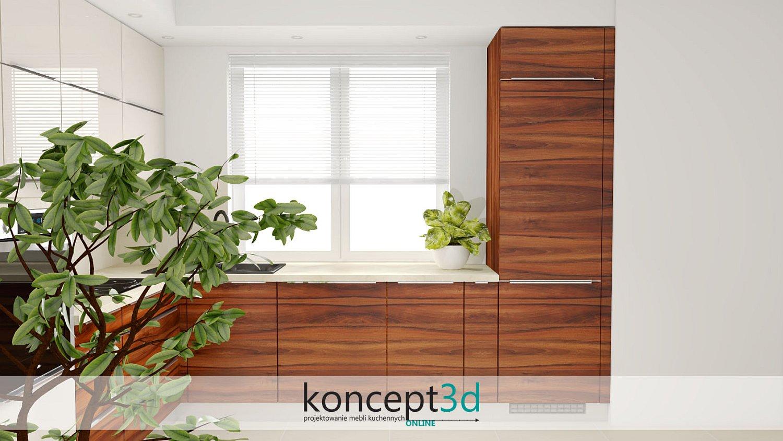 Drewniany wysoki słupek w kuchni z jasnym blatem i górami ecru | meble na wymiar