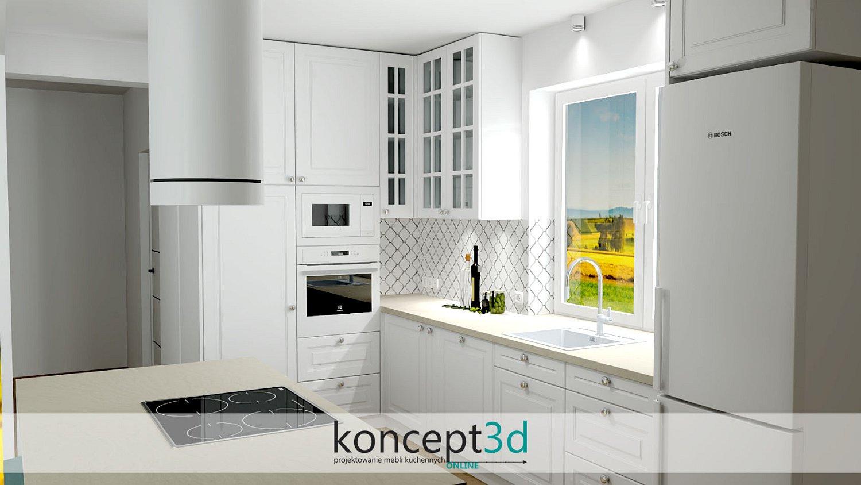 Okrągłe uchwyty w klasycznej kuchni z białym AGD   aranżacje mebli kuchennych