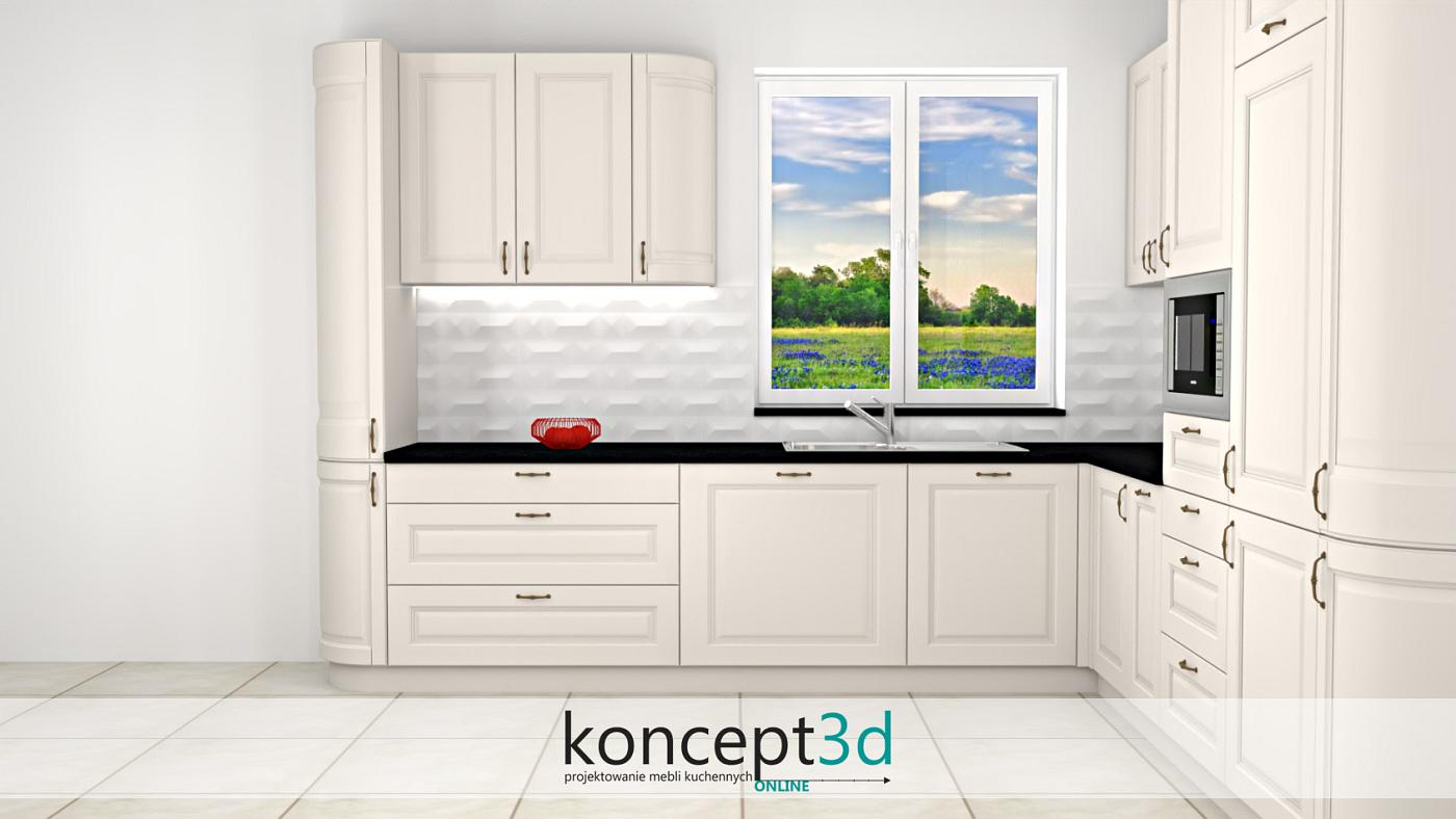 kuchnia w L zakończona giętymi szafkami   koncept3d projekty kuchni