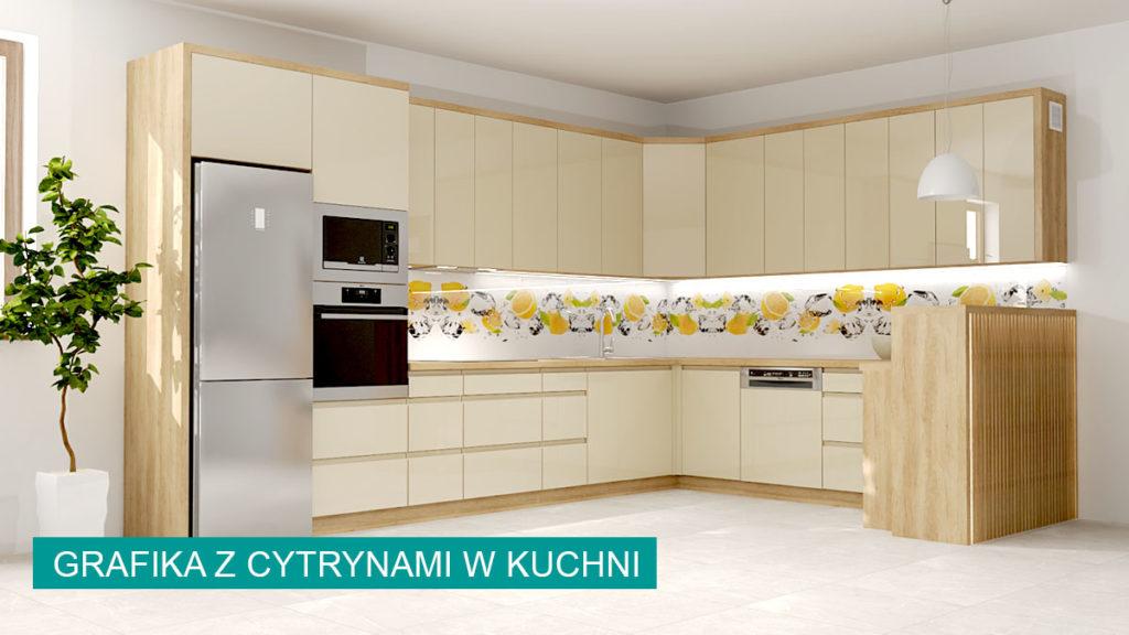 Szkło laminowane z cytrynami w kuchni na ścianie | koncept3d projekty kuchni