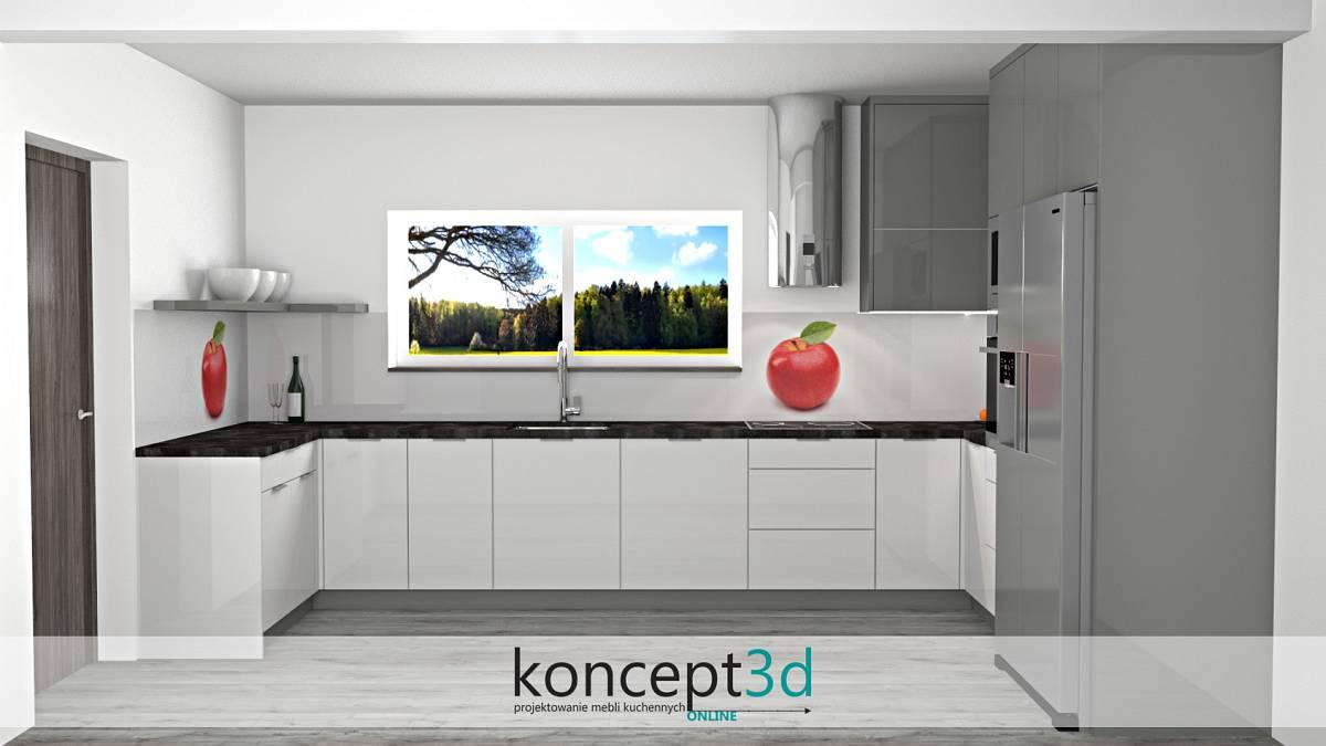 Aranżacja ściany - grafika z dużym jabłkiem