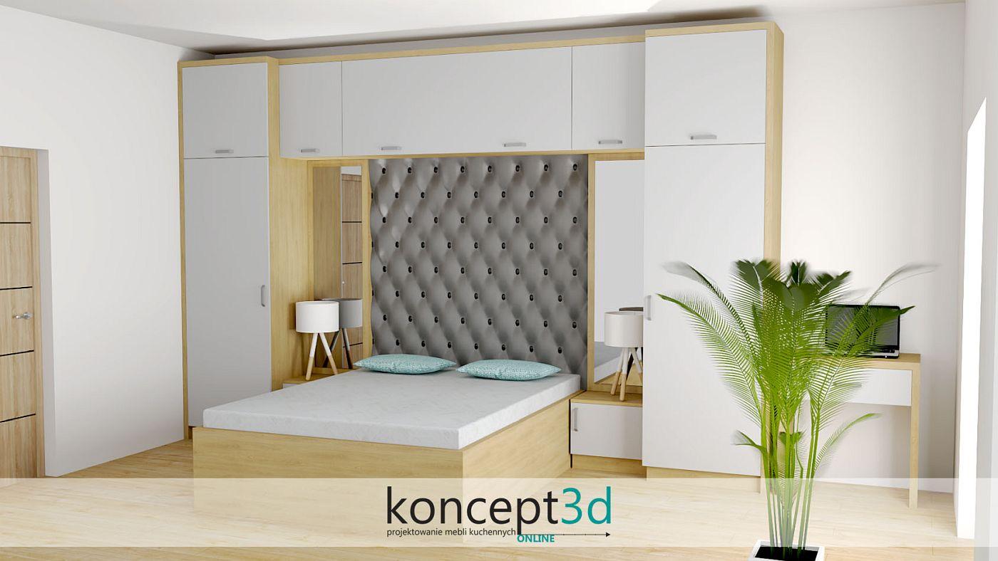Szafa w sypialni z drewnianym łóżkiem i nakastlikami