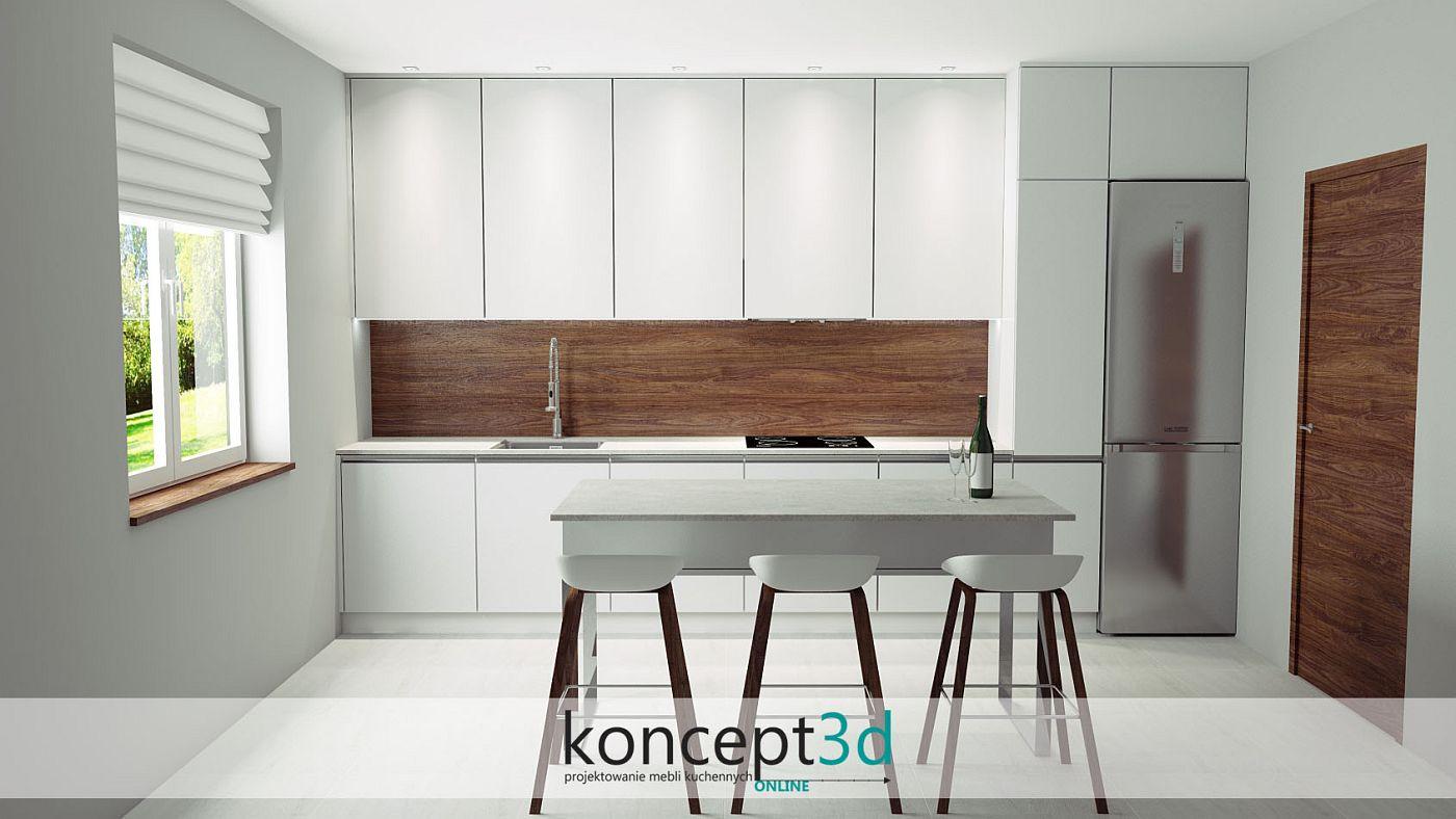 Biała kuchnia w kształcie litery I z wyspą i drewnianą zabudową na ścianie | koncept3d projekty kuchni