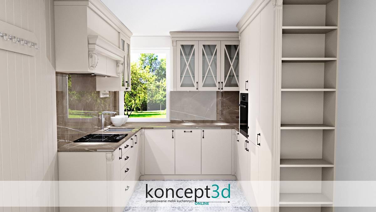Aranżacja ściany nad blatem w kuchni - piękne kamienne wykończenie | koncept3d