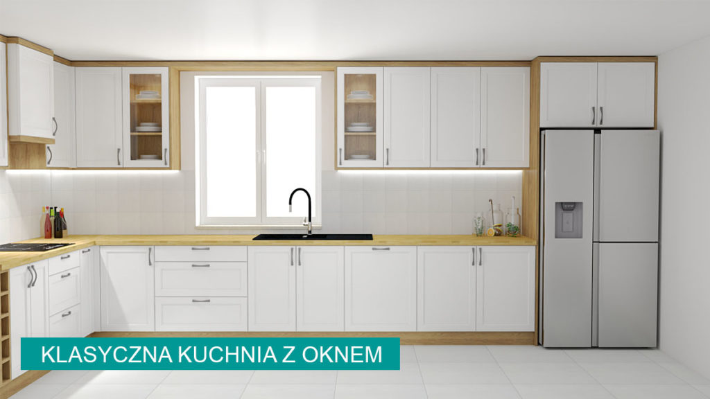 Projekt klasycznej kuchni z oknem w białym kolorze   koncept3d