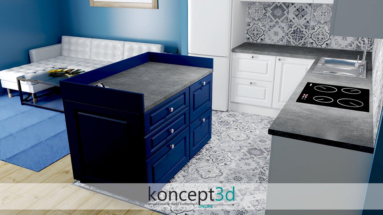 Niebieska wyspa w stylu klasycznym   projekty kuchni koncept3d