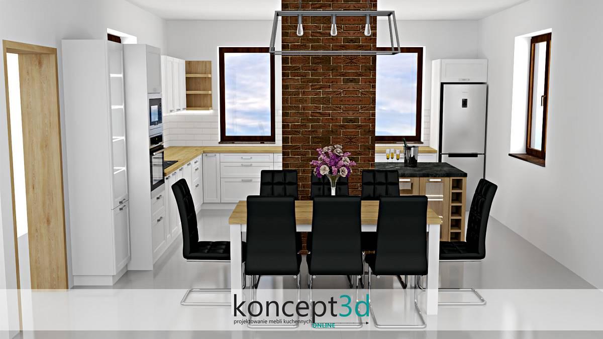 Aranżacja dużej białej kuchni z wyspą i stołem. Całość dosunięta jest do komina wykończonego czerwoną cegłą   koncept3d projekty kuchni kraków