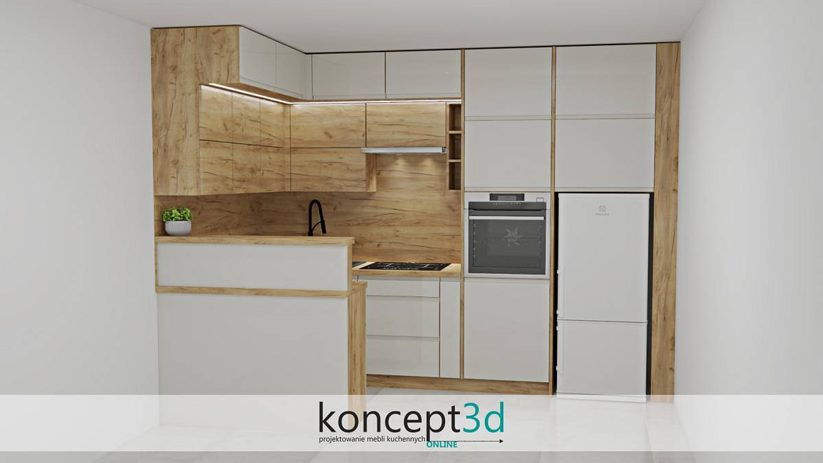 Odcienie kremu bardzo chętnie komponują się z płytą dąb Craft Złoty K003 | koncept3d kuchnie na wymiar