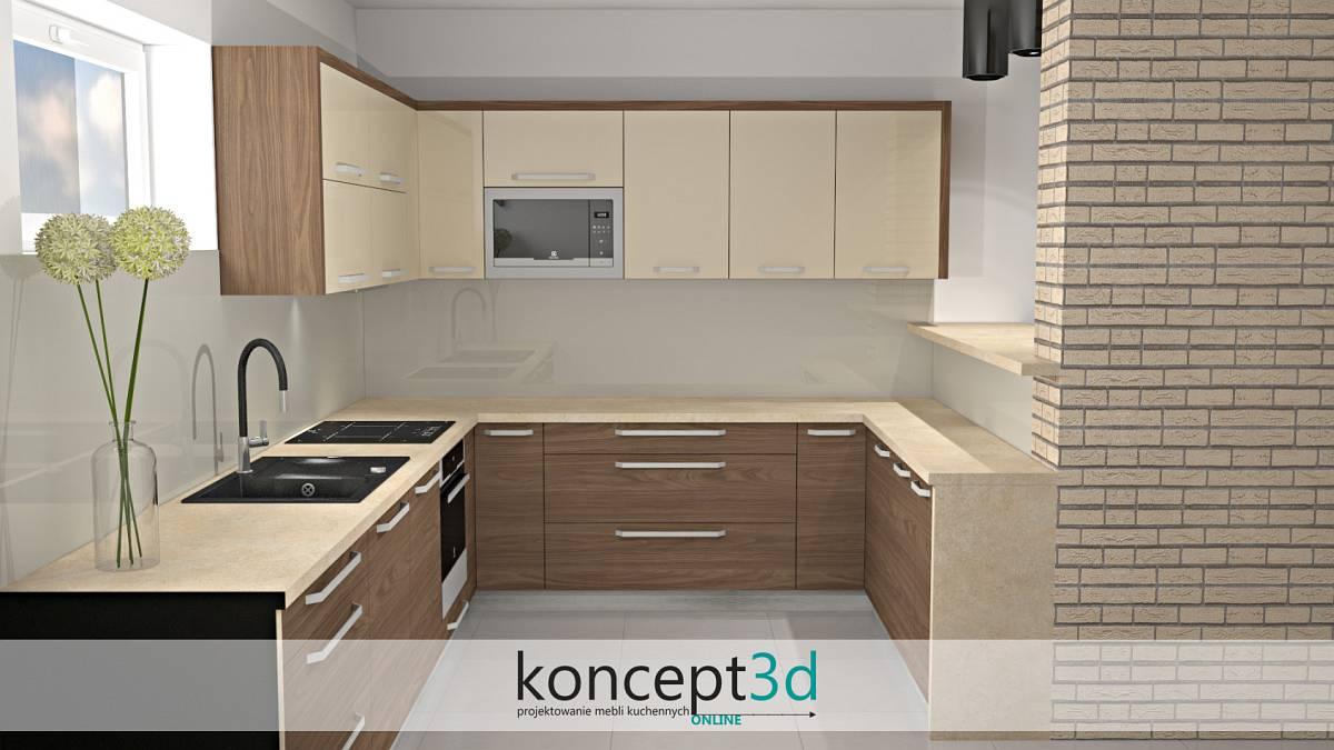 Wizualizacja mebli kuchennych koncept3d - kremowy lacobel na scianie