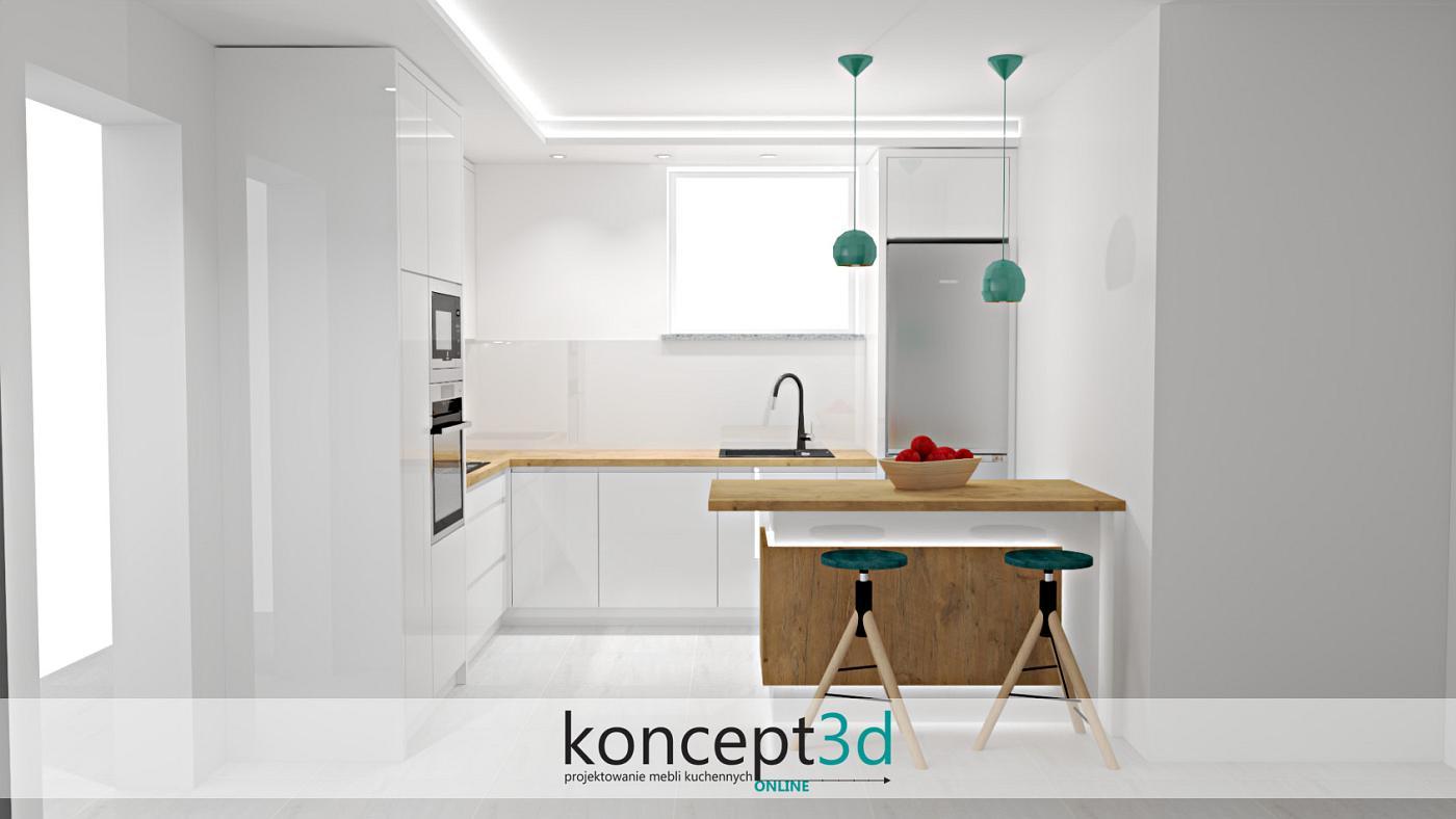Turkusowe lampy nad półwyspem w kuchni na planie litery L   koncept3d projekty kuchni kraków