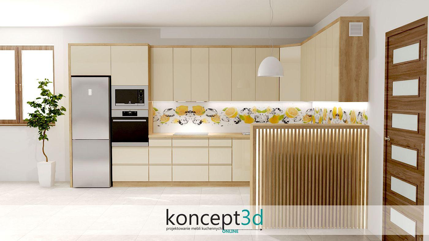 Pionowe lamele w niewielkim półwyspie z podświetleniem | koncept3d projekty kuchni