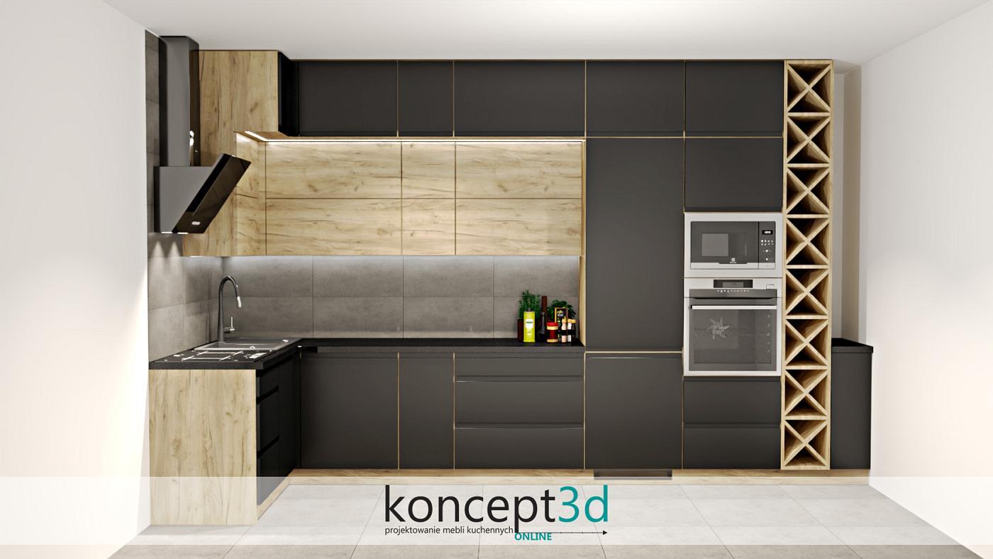 Aranżacja mebli kuchennych w ksztłacie litery L w czarnym macie   koncept3d projekty kuchni kraków