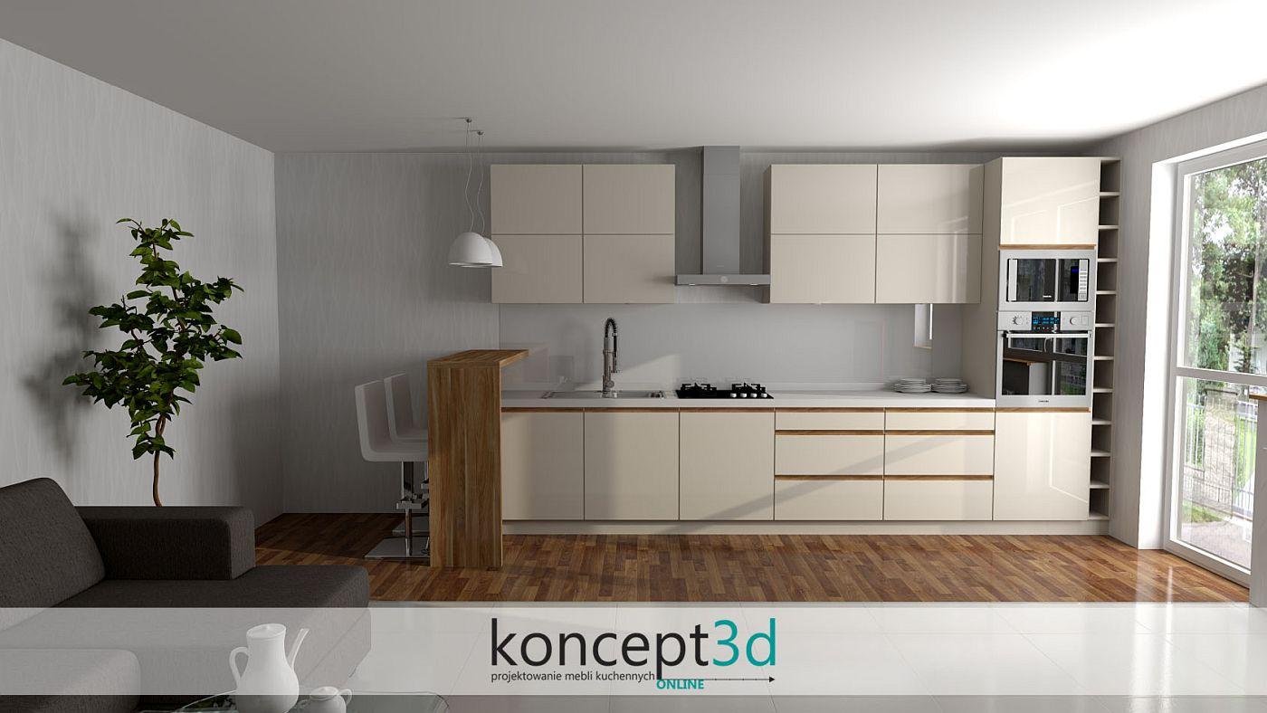 Aranżacja beżowej kuchni zabudowanej na jednej ścianie z wysoką ladą do siedzenia | koncept3d biertowice meble