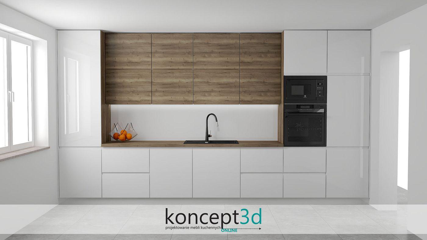Biała kuchnia w kształcie litery I z drewnianym blatem i drewnianymi wiszącymi szafkami